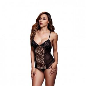 Baci - Basque & Garter Stays No Panty Leopard/ Black One Size