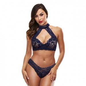 Baci - Lace Halter Bikini Set Blue M/L