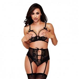 Baci - Black Bra Garter Crotchless Panty Set S/M