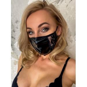 Sejas maska ar Mežģīni Noir